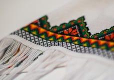 Una frangia dell'asciugamano ricamato fotografia stock