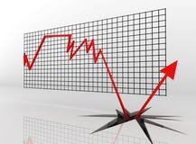Una freccia rossa del down-up Immagini Stock