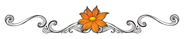 Una frontera anaranjada de la flor libre illustration