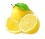 Una fruta y mitad enteras del limón con un pedazo en blanco Foto de archivo