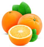 Una frutta una di due arance ha tagliato a metà con la foglia Immagini Stock
