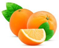 Una frutta e una fetta di due arance con la foglia Fotografia Stock Libera da Diritti