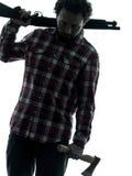 Serial killer dell'uomo con il ritratto della siluetta del fucile da caccia Fotografia Stock