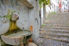 Una fuente de la cabeza del ` s del león en la vecindad de Alfama con las escaleras cobbled en Lisboa, Portugal foto de archivo libre de regalías