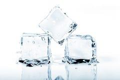Una fusione di tre cubetti di ghiaccio isolata su bianco immagini stock libere da diritti