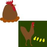 Una gallina con los huevos y polluelos ilustración del vector