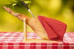 Una gamba anteriore di un prosciutto spagnolo di Serrano sulla tovaglia a quadretti rossa fotografia stock
