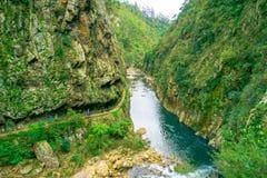 Una gente no identificada que camina en la calzada natural Karangahake Gorge, río que atraviesa la garganta de Karangahake rodead imagen de archivo