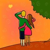 Coppie felici sotto un albero Immagine Stock Libera da Diritti