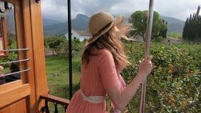 Una giovane donna che gode del viaggio su un treno vecchio, pieno d'ammirazione le belle posizioni turistiche stock footage