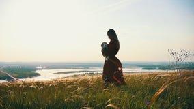 Una giovane donna con un bambino cammina su un campo dell'estate archivi video