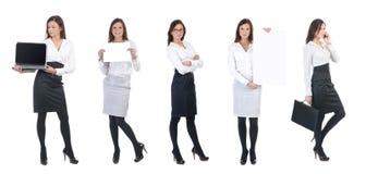 Una giovane donna di affari con gli elementi dell'ufficio Fotografia Stock