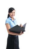 Una giovane donna di affari sorridente asiatica sicura aperta fotografia stock