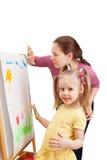 Una giovane donna e una bambina stanno annegando dalle dita Immagine Stock