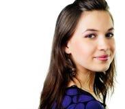 Una giovane donna felice isolata su bianco Immagini Stock Libere da Diritti