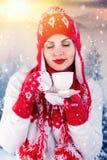 Una giovane donna in una foresta nevosa che beve da una tazza di tè o di caffè Cappello, sciarpa e guanti tricottati fotografia stock