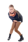 Una giovane donna ha diarrea Fotografia Stock Libera da Diritti