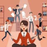 Una giovane donna o una ragazza medita nella posizione di loto e si rilassa nel mezzo di caos dell'ufficio illustrazione vettoriale