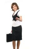 Una giovane e donna di affari felice in vestiti convenzionali Fotografia Stock