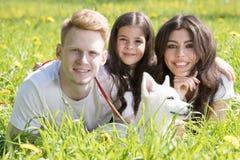 Una giovane famiglia di tre che cammina con il cane fotografia stock