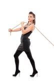 Una giovane femmina con una corda fotografie stock