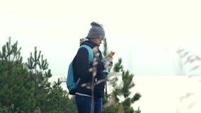 Una giovane ragazza turistica con uno zaino, stante su un'alta banca nell'erba dal lago, con un telefono in sue mani video d archivio