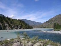 Una giunzione di due fiumi, Altai Immagine Stock Libera da Diritti