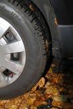 Una gomma di automobile in autunno Immagini Stock Libere da Diritti