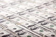 Cientos fondos de los billetes de dólar - diagonal Fotografía de archivo libre de regalías