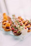Una gran opción de diversos postres de la boda adornados con la fruta y el chocolate Fotografía de archivo libre de regalías