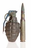 Una granada de la piña y un calibre grande Fotos de archivo libres de regalías