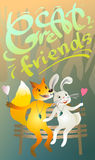 Una grande amicizia di due amici illustrazione di stock