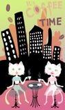 Una grande amicizia di due amici, due gatti si siede nella città e beve il caffè È tempi del caffè illustrazione di stock