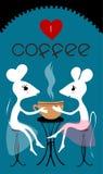 Una grande amicizia di due amici, due mouses si siede nella città e beve il caffè È tempi del caffè Baner del caffè Amo il caffè Fotografie Stock