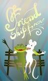 Una grande amicizia di due amici rana e topo illustrazione vettoriale