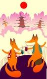 Una grande amicizia di due amici, due volpi si siede in paese asiatico e beve il caffè È tempi del caffè Baner del caffè royalty illustrazione gratis