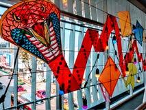 Una grande decorazione dell'aquilone del serpente con luce fotografia stock libera da diritti