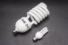 Una grande e piccola lampadina dello stesso genere Fotografia Stock Libera da Diritti
