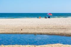 Una grande famiglia che gode delle feste in una spiaggia piacevole dell'acqua blu nella Bassa California Fotografie Stock