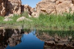 Una grande gola con un fiume e le riflessioni Immagini Stock Libere da Diritti