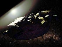 Nave appoggio in superficie sull'orbita illustrazione di stock