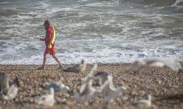 Una guardia del mare sulla spiaggia immagini stock libere da diritti