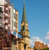 Una guglia alta della chiesa a Minneapolis del centro Immagine Stock Libera da Diritti