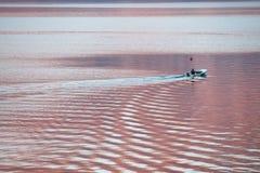 Una guida dell'uomo nella barca in baia fotografia stock