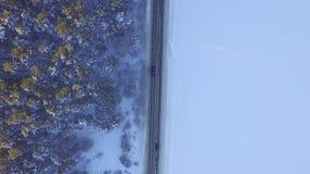 Una guida di veicoli attraverso la foresta di inverno sulla strada campestre Vista superiore dal fuco Vista aerea di una strada a stock footage