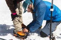 Una guida professionale vi aiuta ad installare e vestire i ramponi dell'alpinista Fotografia Stock Libera da Diritti