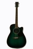 Una guitarra eléctrica acústica verde imagenes de archivo