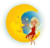 Una hada con un vestido rojo al lado de la luna el dormir Fotografía de archivo