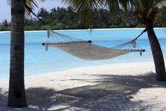 Una hamaca debajo de los árboles que pasan por alto la playa, Fotos de archivo libres de regalías