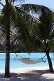Una hamaca debajo de los árboles que pasan por alto la playa, Imágenes de archivo libres de regalías